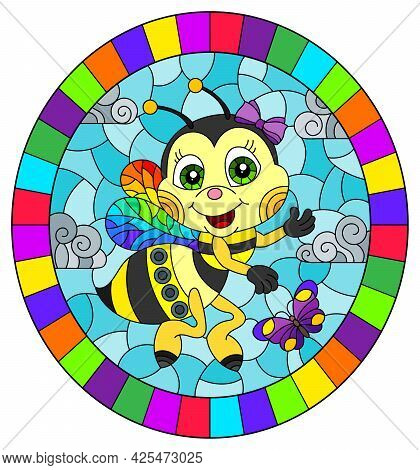 An Illustration In The Style Of A Stained Glass Window With A Cute Cartoon Bee On A Blue Sky Backgro