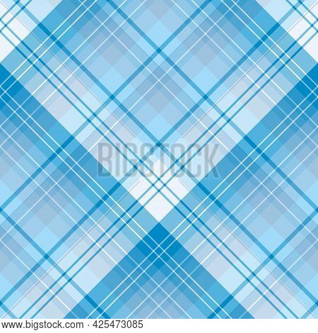 Seamless Pattern In Blue Colors For Plaid, Fabric, Textile, Clothes, Tablecloth And Other Things. Ve