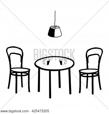 Black Vector Outline Illustration Of A Room With A Table And Cups And A Pair Of Chairs And A Electri