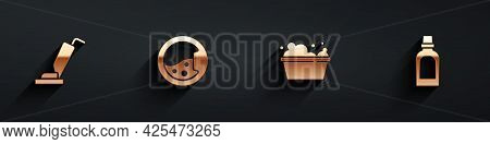 Set Vacuum Cleaner, Washer, Basin With Soap Suds And Bottle For Cleaning Agent Icon With Long Shadow