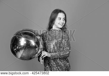 Amazing Day With Full Of Fun. Birthday Girl. Happy Child Celebrate Birthday. Small Kid Hold Air Ball
