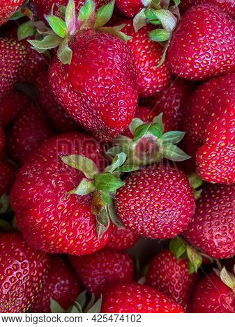 Strawberry Background Full Frame. Ripe Homemade Strawberries.