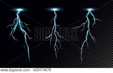 Lightning Bolts Realistic Vector Illustrations Set. Thunderstorm Electricity Discharge Isolated On T