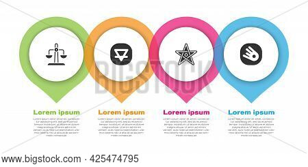Set Libra Zodiac, Earth Element, Pentagram And Comet Falling Down Fast. Business Infographic Templat