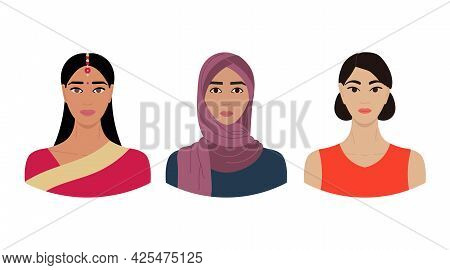 Set Of Female Faces From Regions Of Asia With Different Ethnics, Skin Colors, Hairstyles. Collection