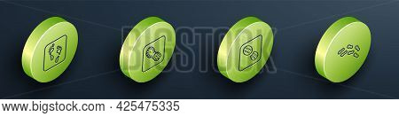 Set Isometric Line Human Footprint, Footprints Shoes, And Icon. Vector