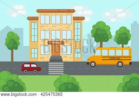 A Bright Summer Illustration Depicting A School Building With A Road Near The School. A Car And A Sc