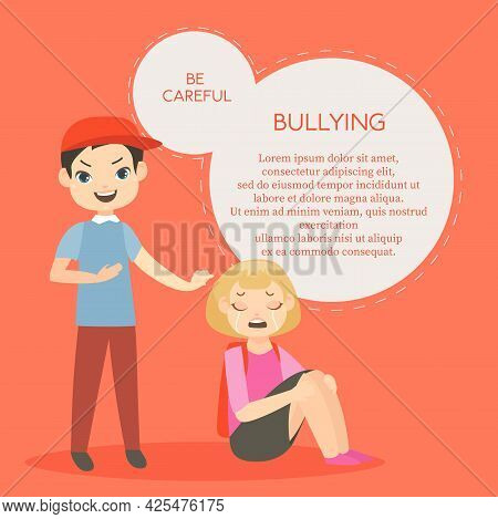 Vector Illustration Of Kids Bullying. Aggressive School Children Conflict In Flat Style. Feminism, S