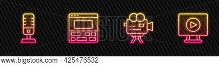 Set Line Retro Cinema Camera, Microphone, Video Recorder Laptop And Online Play Video. Glowing Neon