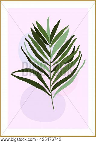 Botanical Vector Illustration Of An Abstract Composition With Palm Leaves On A Delicate Watercolor B
