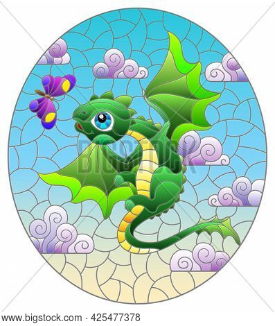 Stained Glass Illustration With Bright Green Cartoon Dragon Against A Cloudy Blue Cloudy  Sky, Oval