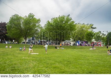 Portland Me - May 22, 2021: People Enjoy Free Time On The Eastern Promenade In Portland, Maine, Usa