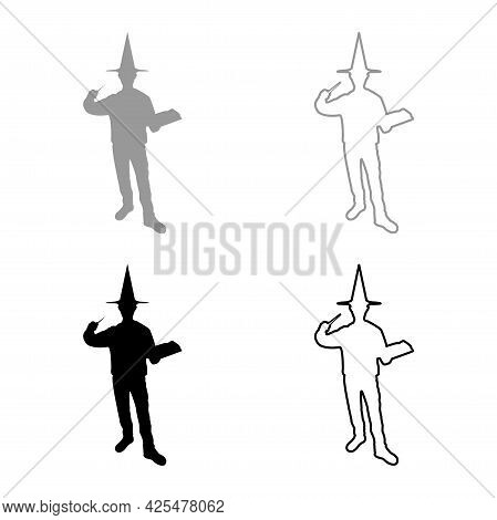 Wizard Holds Magic Wand Trick Book Waving Sorcery Concept Magician Sorcerer Fantasy Person Warlock M