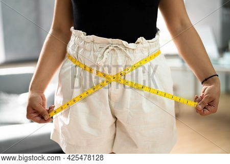 Weight Loss Measure. Losing Belly Fat After Training