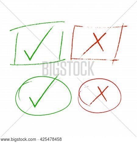 Check Marks, Check And Cross Highlight Sign, Checklist Marking Logo, Reject And Accept Mark Green Ti