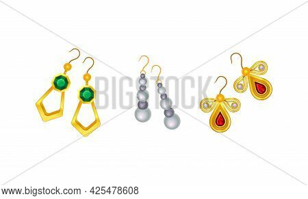 Jewellery Or Jewelry Item As Personal Adornment With Earrings Vector Set