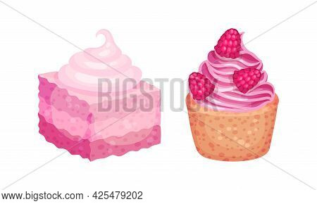 Pink Desserts With Cupcake With Whipped Cream And Berry Vector Set