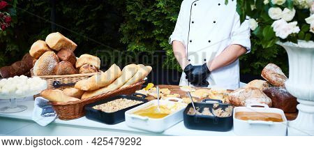 Kitchenware In The Line Catering Buffet Food In Luxury Outdoor Restaurant.