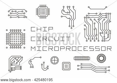 A Set Of Linear Elements For Creating Microcircuits. Microchips, Processors, Motherboard Parts. Vect