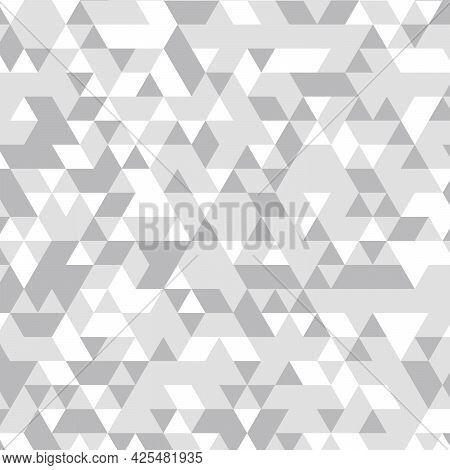 Geometric Background. Triangles Geometric Mosaic, Grey Triangles, Application In Origami Style. Abst