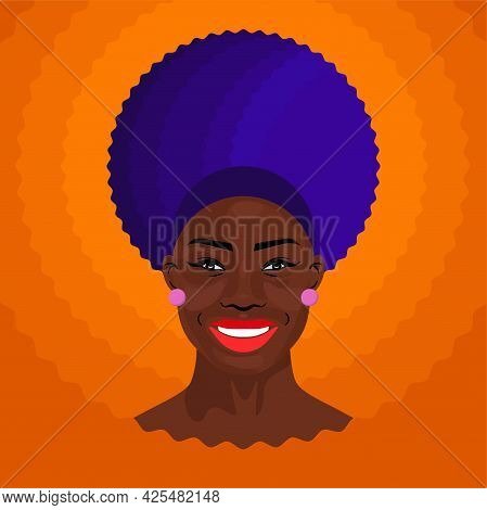 African American Pretty Smiling Girl. Female Portrait. Black Beauty Concept. Vector Illustration Of
