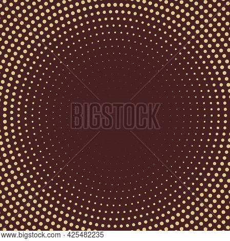 Geometric Modern Vector Brown And Golden Pattern. Golden Ornament With Dotted Elements. Geometric Ab