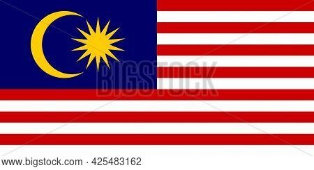 National Flag Of Malaysia In The Original Colours And Proportions(1:2)