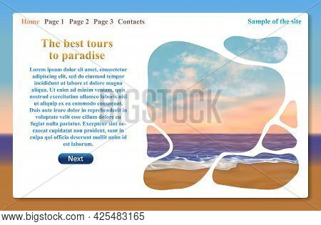 One Page Website Related To Vacation Trips And Tours. Vector Template With Text For Travel And Tour