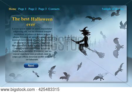 Beautiful Website Design With Witch Sitting On The Broom Flying Through Fog Clouds Up Above The Dark