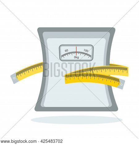 Slimming Icon. Weight Scale With Measuring Tape Vector Illustration Design Isolated