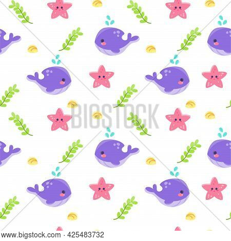 Colored Sealife Pattern With Shales And Seastars Vector Illustration