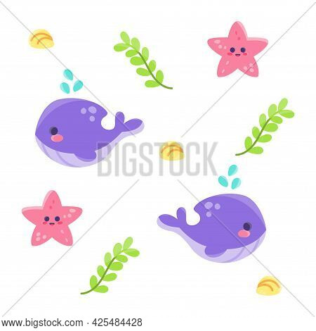 Colored Sealife Pattern With Whales And Seastars Vector