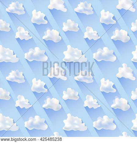 Solid Seamless Vector Texture In The Form Of Stylized Simplified Clouds And Shadows