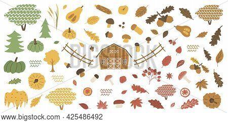 Farm Forest Isolated Autumn Elements Set. Barn Acorn Boletus, Fly Agaric, Viburnum, Leaves Maple, Oa