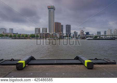 29 June 2021 Rotterdam; The Netherlands; Rotterdam South Bank; Business Center Offices And Modern Ar