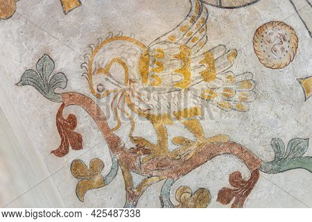 The Mythological Bird Phoenix Feeding His Nestlings With His Own Blod, An Ancient Mural In Skibby Ch