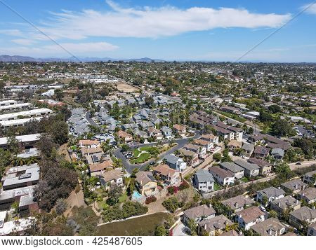 Aerial View Of Suburb Area With Residential Villa In San Diego, Encinitas, South California, Usa.