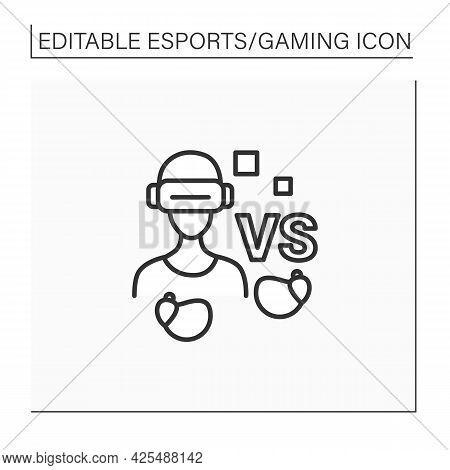 Gamer Line Icon. Man In Virtual Reality Goggles With Wireless Headphones. Technical Equipment. Cyber