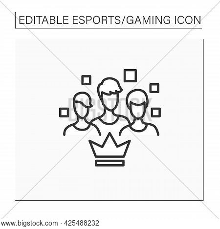 Team Line Icon.like-minded People. Gamers Brigade. Take Part At Gaming Competitions. Cybersport Conc