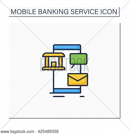 Sms Banking Color Icon. Send Notifications To Mobile Phones To Perform Some Financial Transactions U