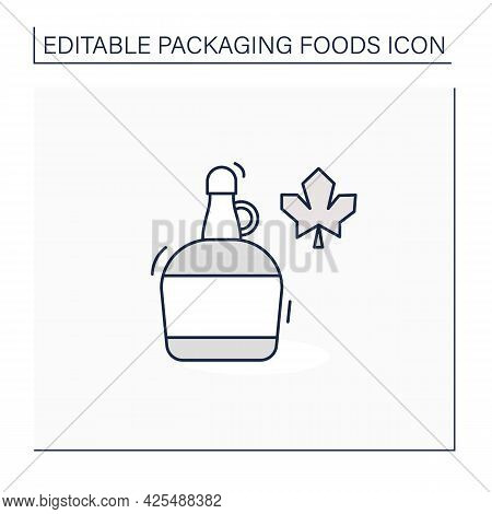 Maple Syrup Line Icon. Syrup In Glass Or Plastic Bottle. Protection, Tampering Resistance From Bacte