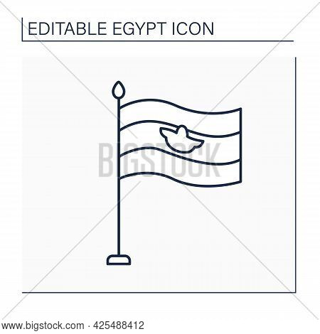 Flag Line Icon. Tricolour Consisting Of Equal Horizontal Bands. Traditional Symbol Or Emblem Of Coun