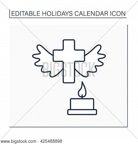 All Saint Day Line Icon. Honor Deceased Relatives. Bringing Flowers, Flash Candles And Pray For Soul