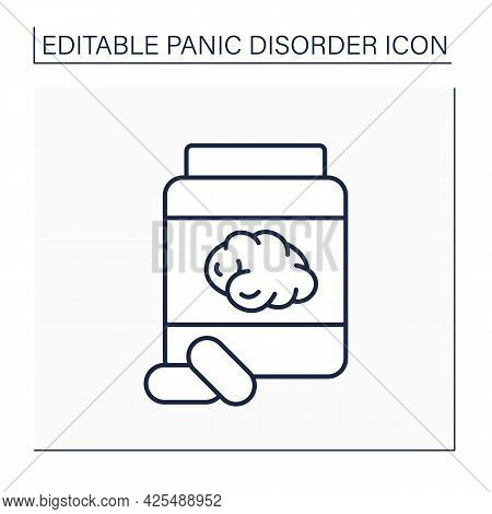 Benzodiazepines Line Icon.sedative Medication.slow Down The Body And Brain Functions.panic Disorder