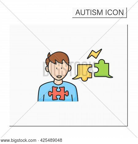 Neurodevelopmental Disorder Color Icon.problems With Two Way Conversation.inability To Balance Dialo
