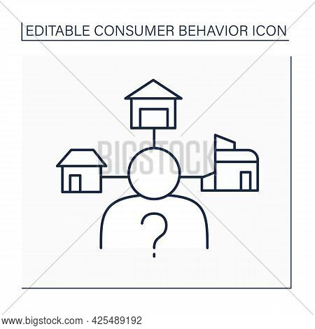 Extensive Decision-making Line Icon. Buying Decisions About Big Financial Investment. House Buying.