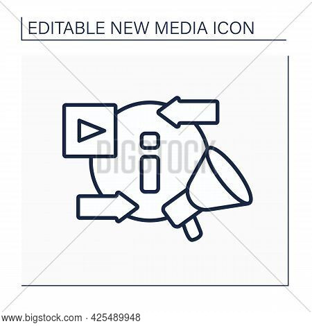 Information Space Line Icon. Exchanging And Promoting New Content. Social Media Platform. New Media