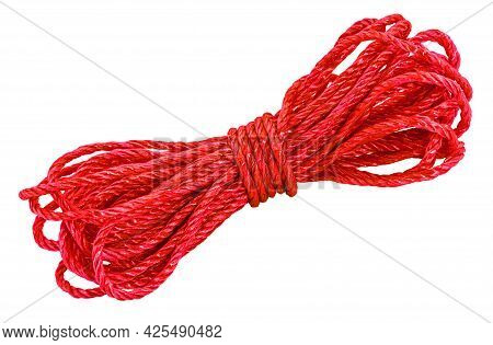 Red Rope, Cord Skein Isolated On White Background.