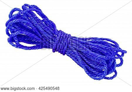Blue Rope, Skein Of Cord Isolated On White Background.
