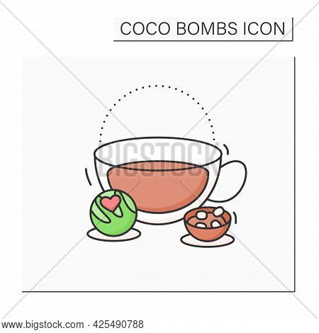 Coco Bomb Color Icon. Delicious Dessert. Cute Ball Of Chocolate With Marshmallows Filling Inside. Bo